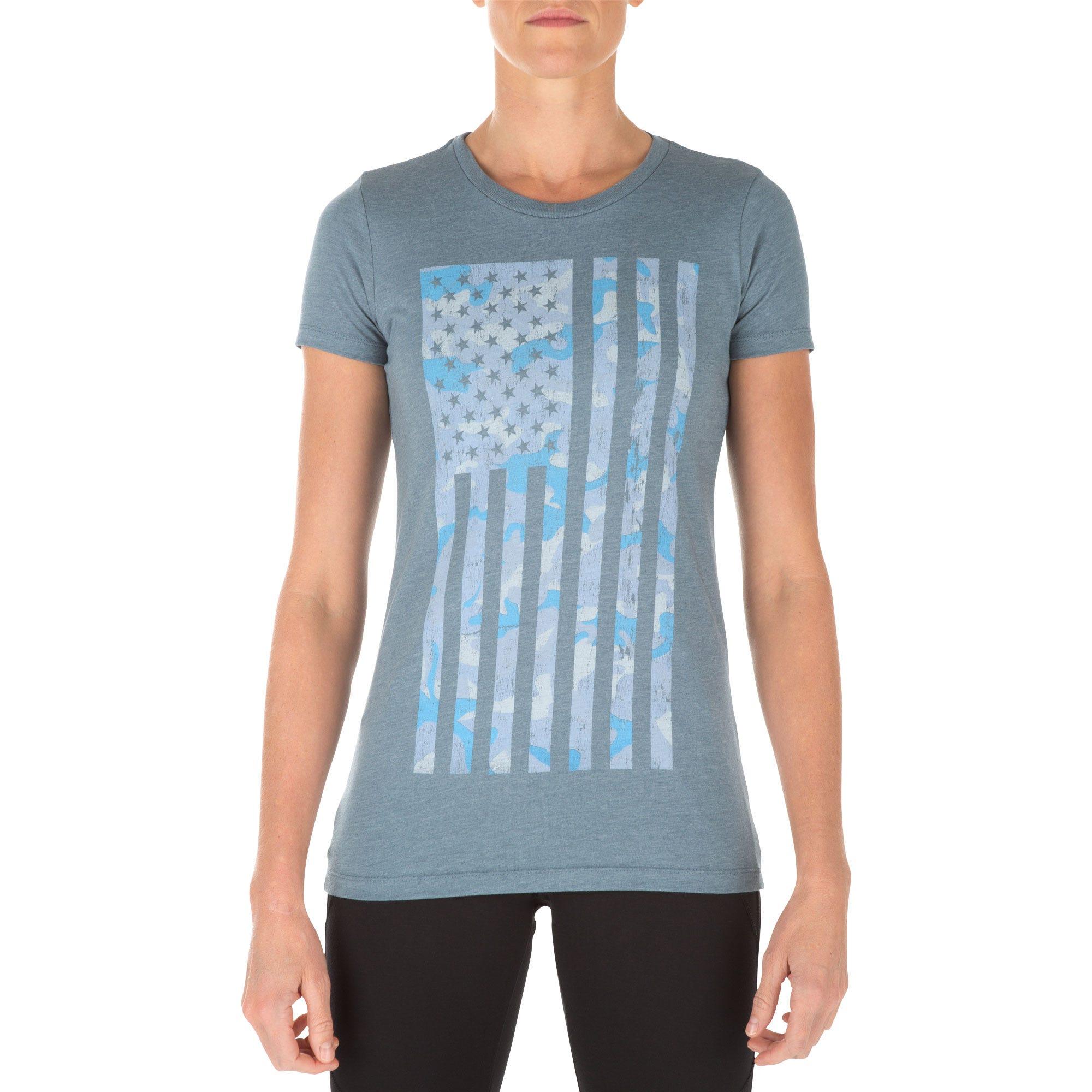 5.11 Tactical Women's Camo Flag Tee (Blue) thumbnail