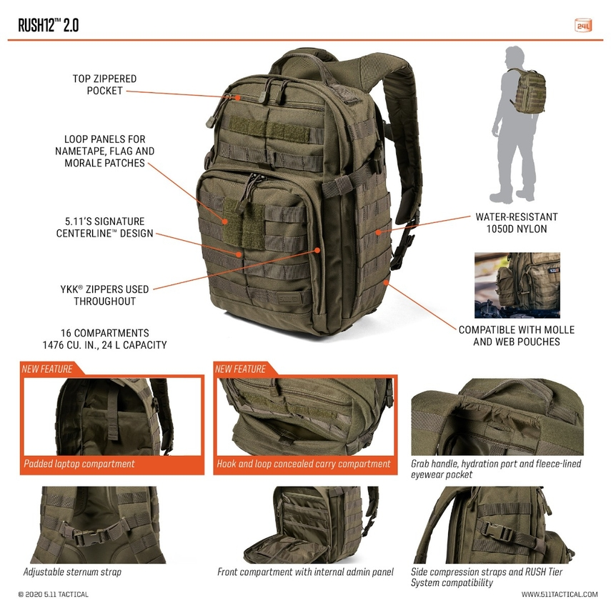 5.11 TACTICAL Rush 12 Backpack, spacious, hiking, camping, beg, outdoor, adventure, activity