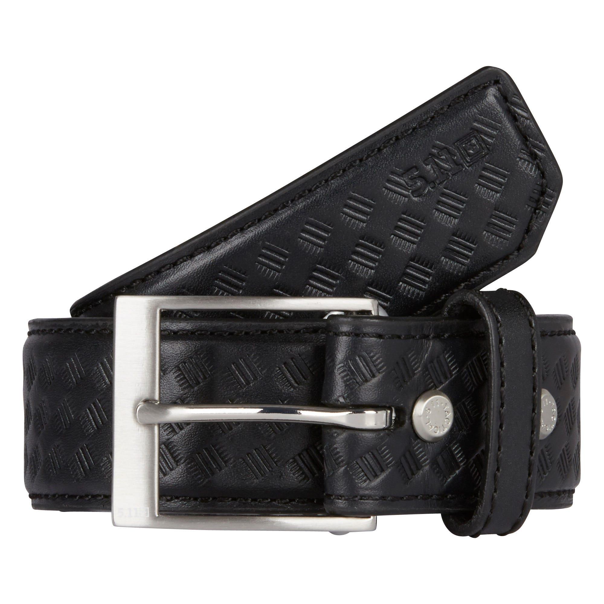"""5.11 Tactical 1.5"""" Basketweave Leather Belt (Black)"""
