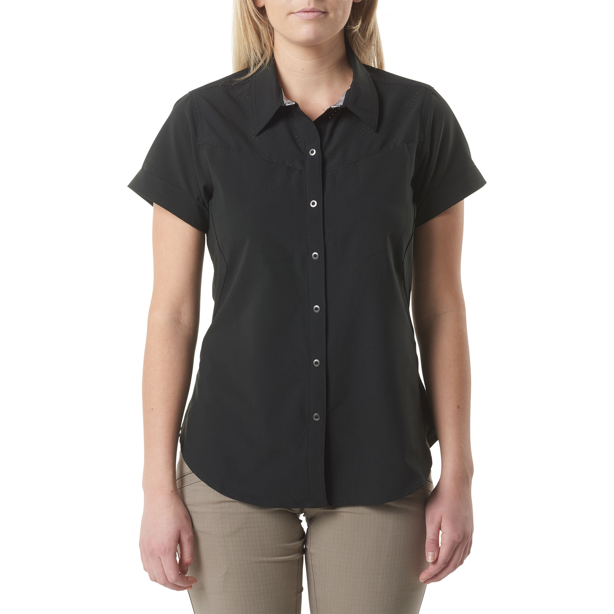 5.11 Tactical Women's Freedom Flex™ Short-Sleeve Shirt (Black), Size S (CCW Concealed Carry)