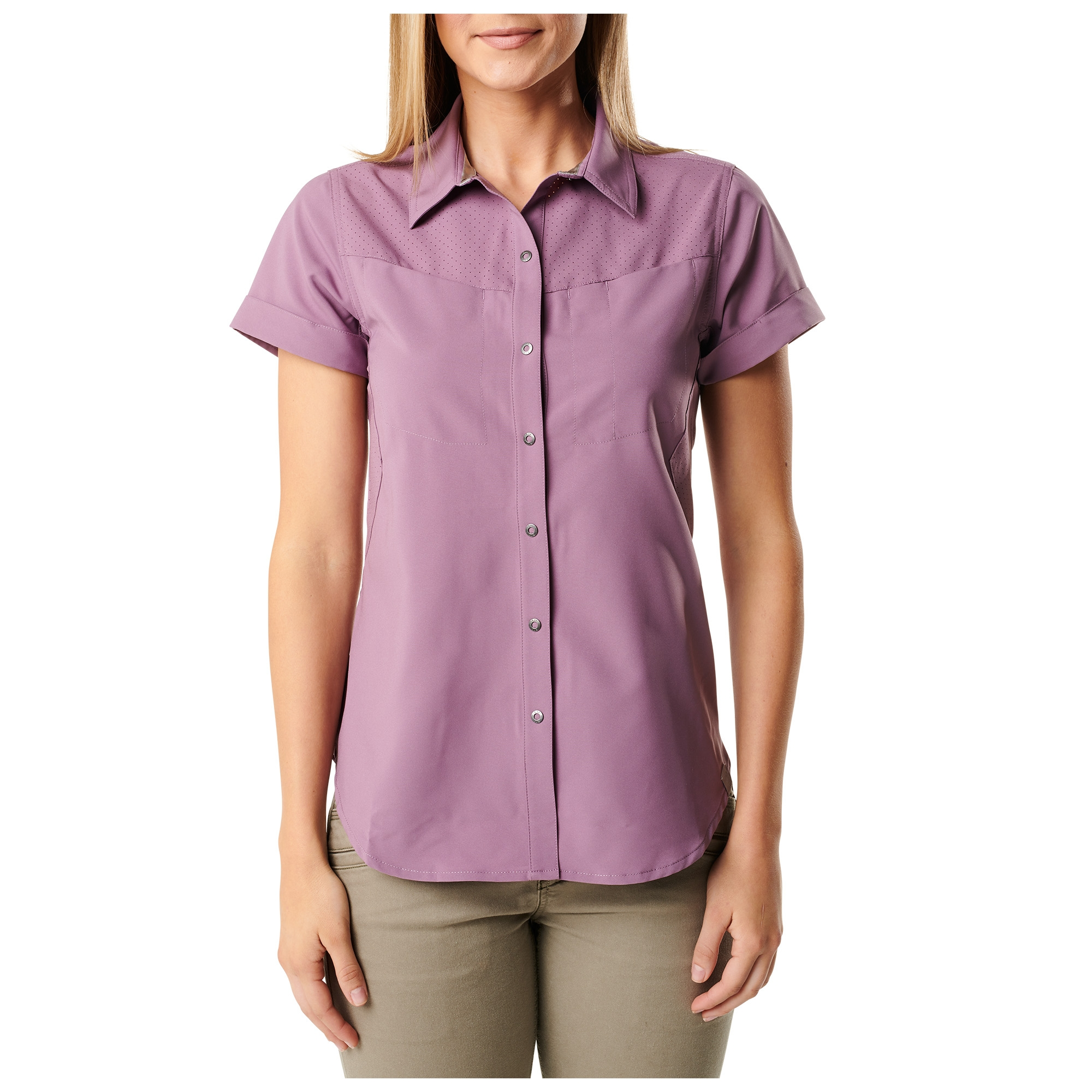 5.11 Tactical Women's Freedom Flex Short-Sleeve Shirt (Green), Size M (CCW Concealed Carry)
