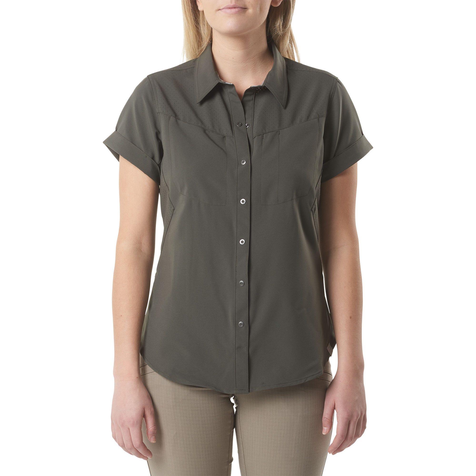 5.11 Tactical Women's Freedom Flex Woven Short Sleeve Shirt (Green)