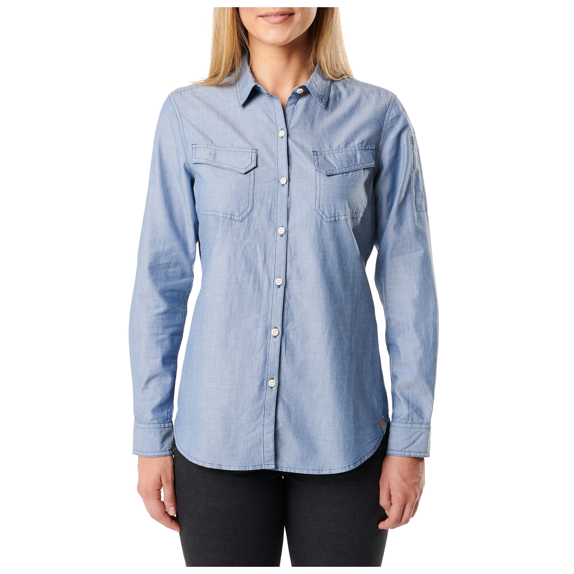 Tactical women 39 s chambray shirt blue for Cuisine you chambray