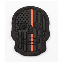 Painted Thin Red Line Skull Patch