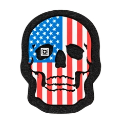 Painted American Flag Skull Patch