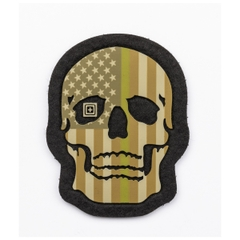 Painted Thin Green Line Skull Patch