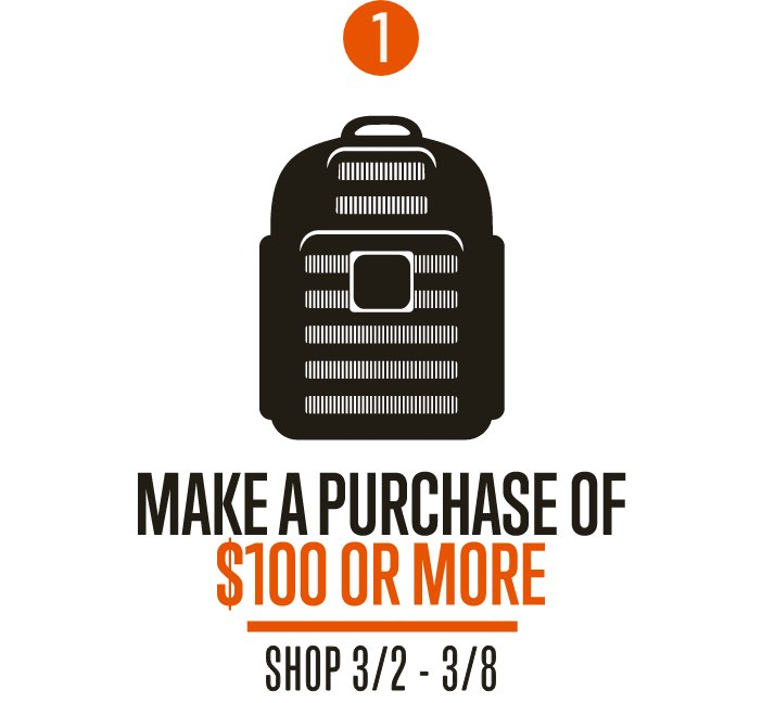 Step 1 | Make a purchase of 100 dollars or more | Shop 3/2 - 3/8