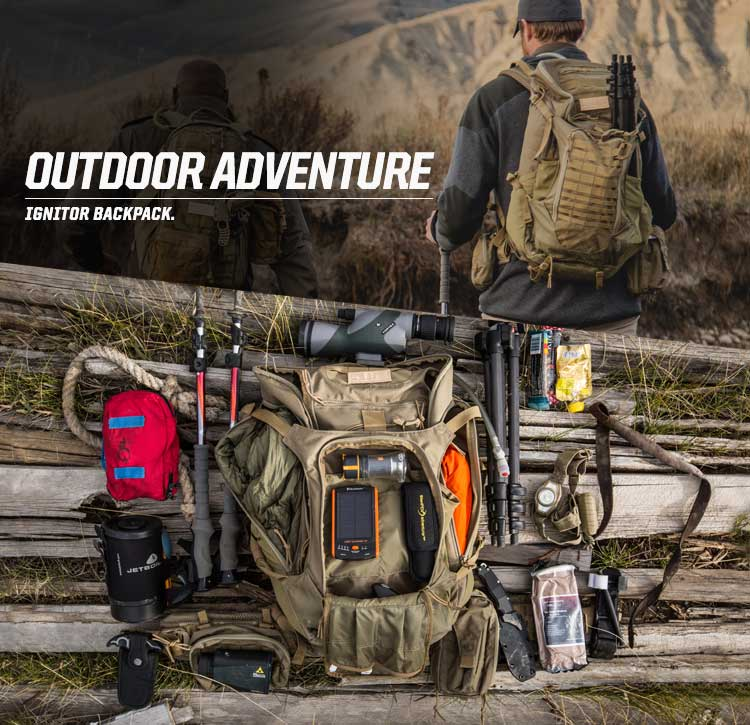 OUTDOOR ADVENTURE - IGNITOR BACKPACK. YOUR NEXT ADVENTURE AWAITS.